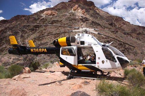 Travel Trip Photo: NPS Helicopter landing near Phantom Ranch, Grand Canyon National Park, Arizona